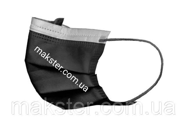 Маски медицинские черные Akzenta (50 шт), фото 2