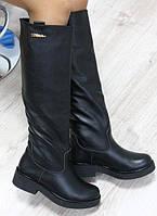 Зимние кожаные сапоги трубы черные на толстой подошве