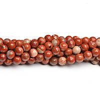 Граненая Красная Яшма, Натуральный камень, На нитях, бусины 8 мм, Шар, кол-во: 47-48 шт/нить