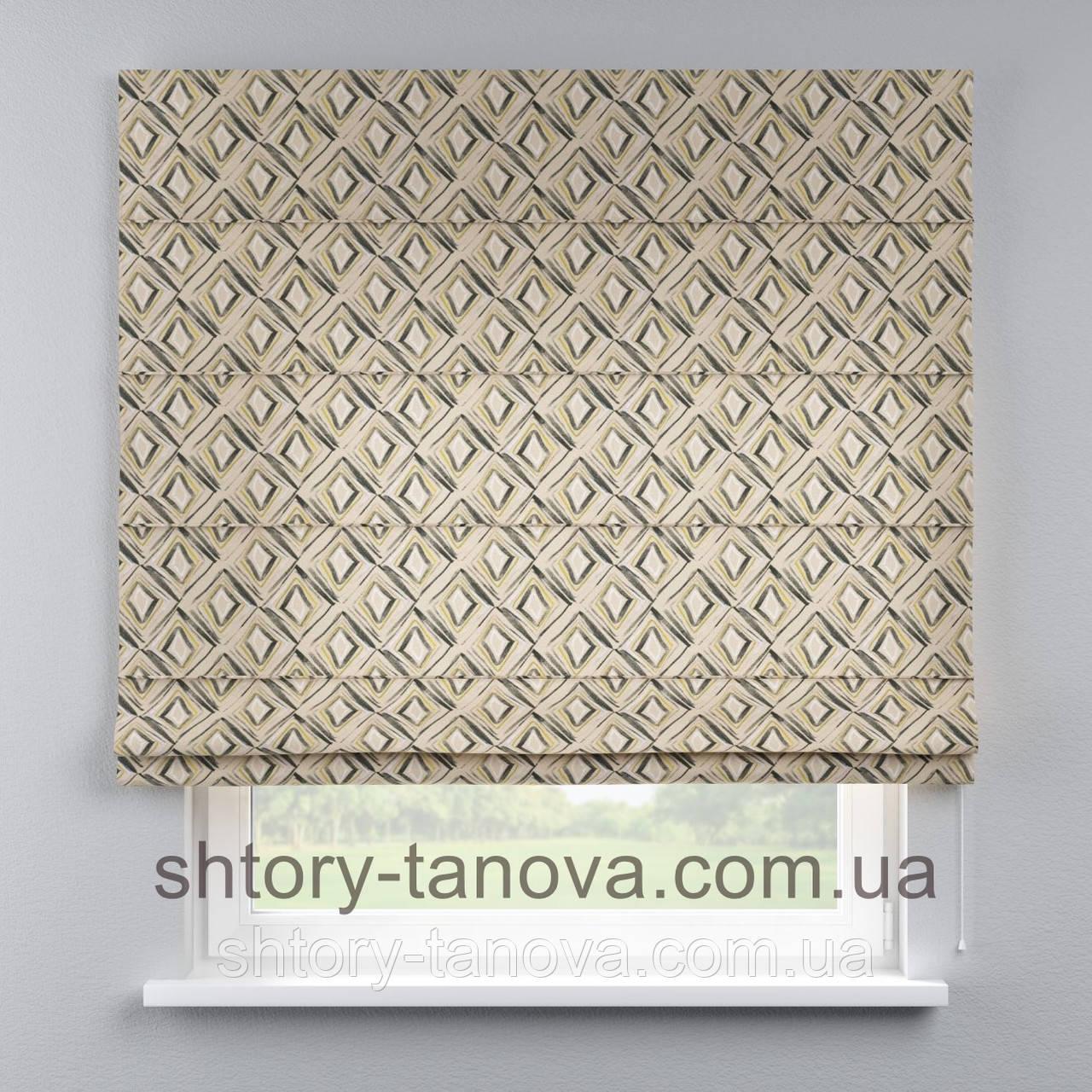 Римская штора с принтом, ромбики 160x170 см