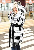Женское пальто батал с капюшоном
