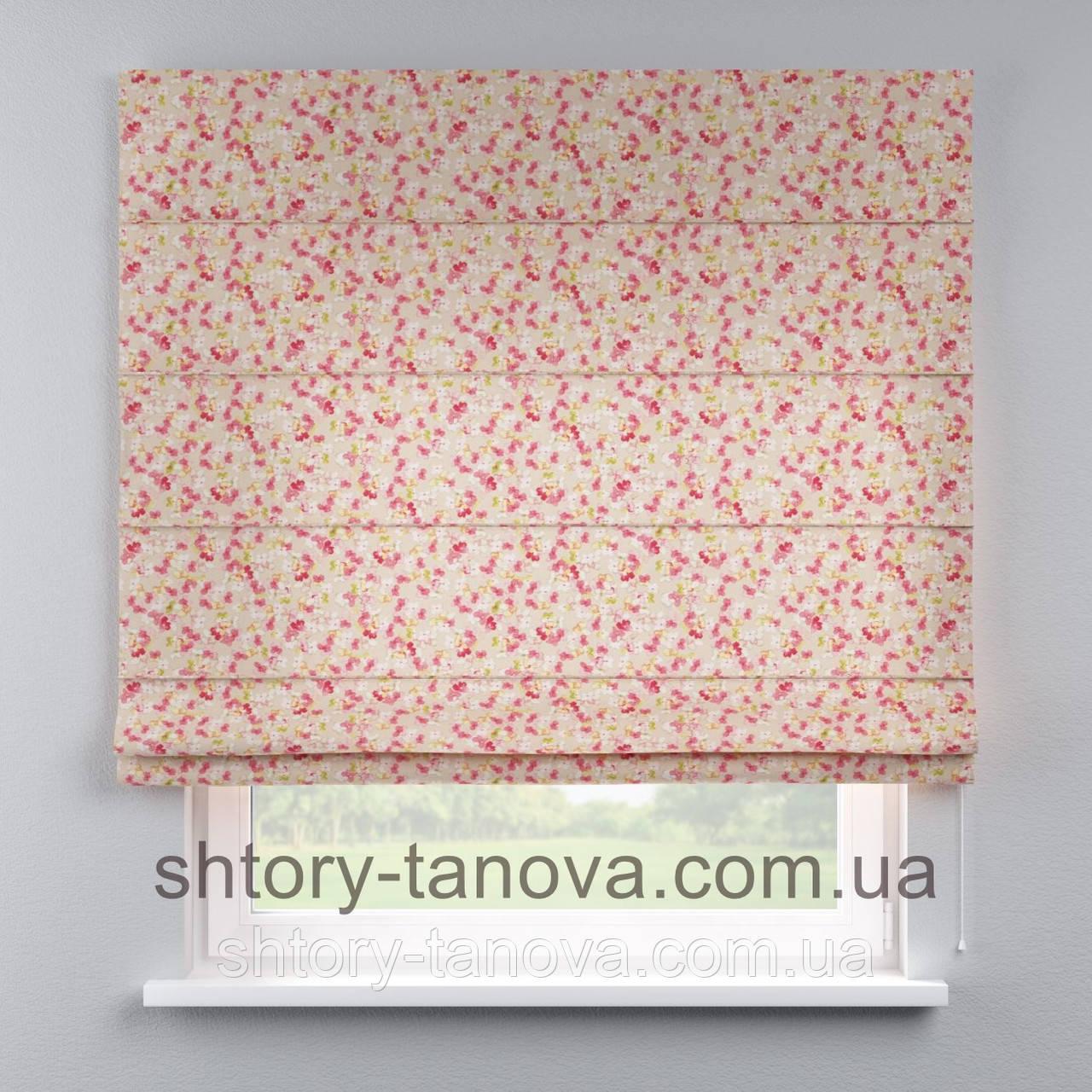 Римская штора с цветочным принтом, мелкие цветочки 160x170 см