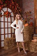 Красивое вязанное платье Косичка молоко