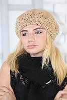 Женский шерстяной Берет Россыпь валяный из натуральной шерсти