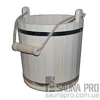 Ведро липовое широкое для бани (10л), Saunapro