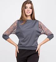 Серая блуза со вставками гипюра
