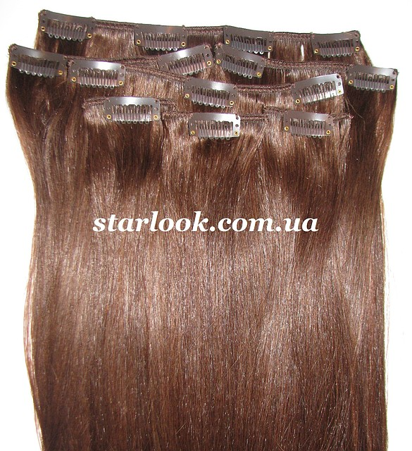 Набор натуральных волос на клипсах 52 см. Оттенок №4. Масса: 100 грамм.