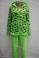 Женская теплая велюровая пижама салатовая
