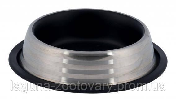 Миска 0.2л/16см (металл) на резине для собак и кошек, черная, фото 2
