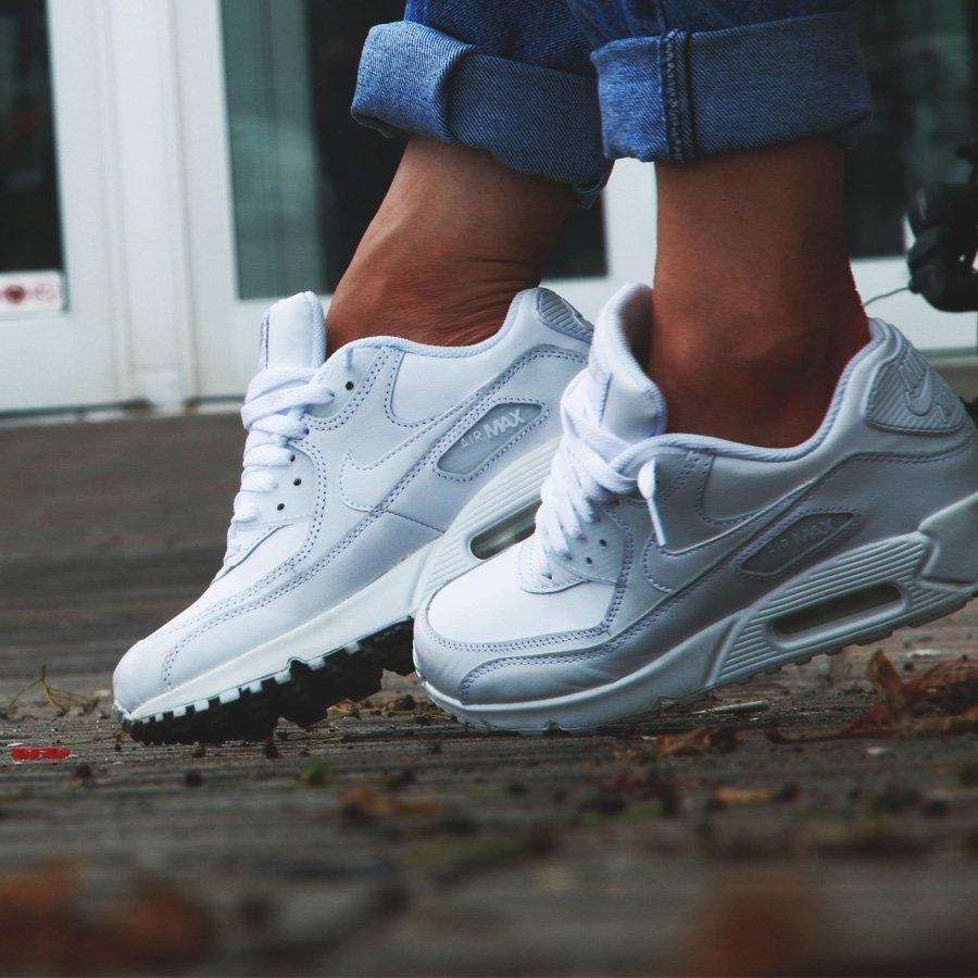 Nike Air Max 90 Leather All White. Оригинальные кроссовки. Модные кроссовки.  - интернет df4643fcd35f7