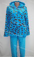 Женская теплая велюровая пижама голубая