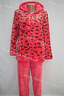 Женская теплая велюровая пижама коралловая