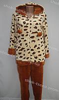 Женская теплая велюровая пижама коричневая