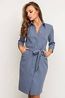 Короткое платье-рубашка №17-68 р. S серый