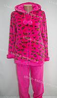 Женская теплая велюровая пижама розовая