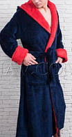 Мужкой халат однотонный с капюшоном