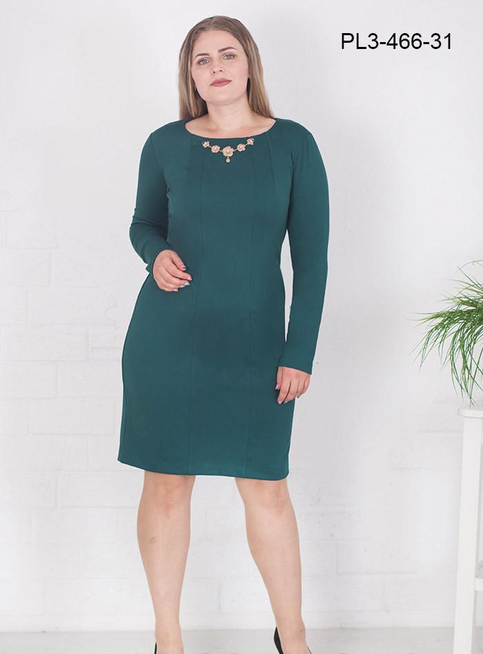 Женское платье из плотного трикотажа полуприлегающего силуэта цвет зеленый размер 58 / большие размеры