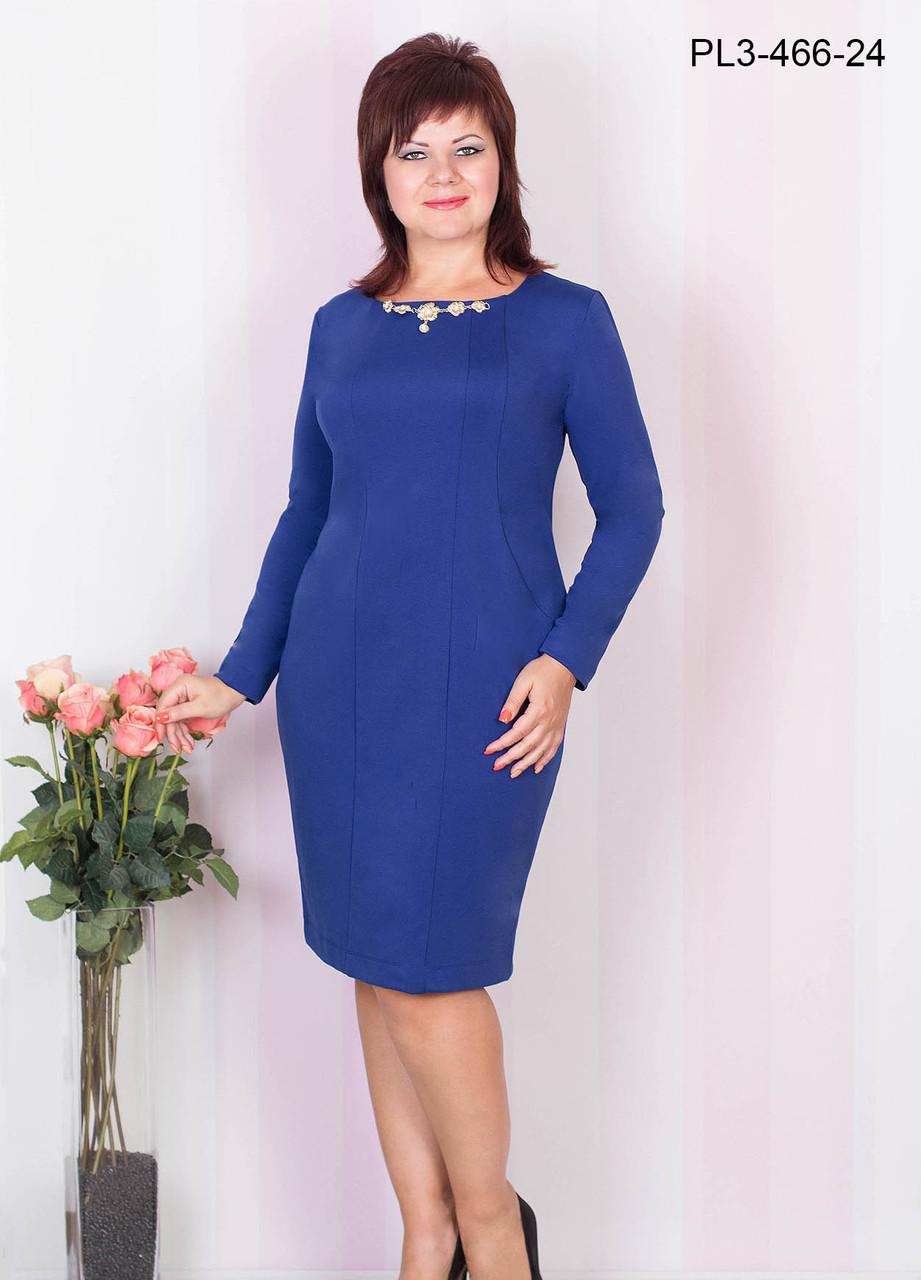 Женское платье из плотного трикотажа полуприлегающего силуэта цвет электрик размер 52-58 / большие размеры