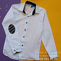 Рубашка белая с длинным рукавом на мальчика для школы Турция р.10-16 лет