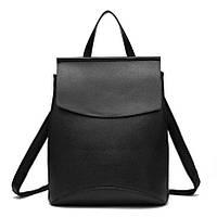 Рюкзак женский матовый  с клапаном (черный)