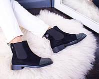Стильные женские ботинки деми на низком ходу Замш