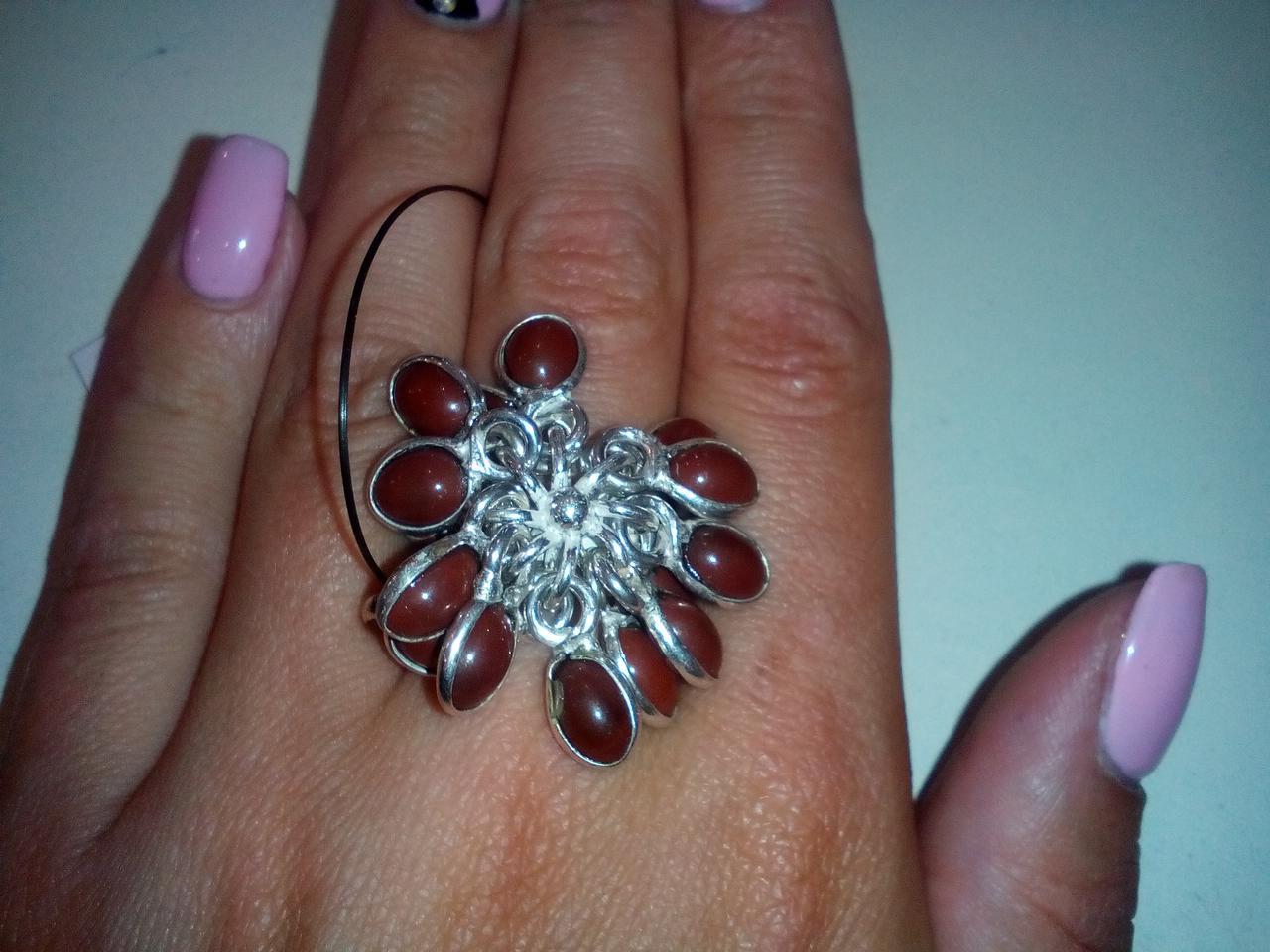 Сердолик кольцо с камнем сердолик в серебре размер 17,5-18 Индия!
