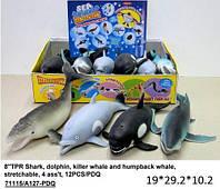 """Морские животные(акула,дельф,касатка) Гонконг A127-PDQ тянучка8""""4в.12шт.вкор.29,2*19*10,2 ш.к./8/96/"""
