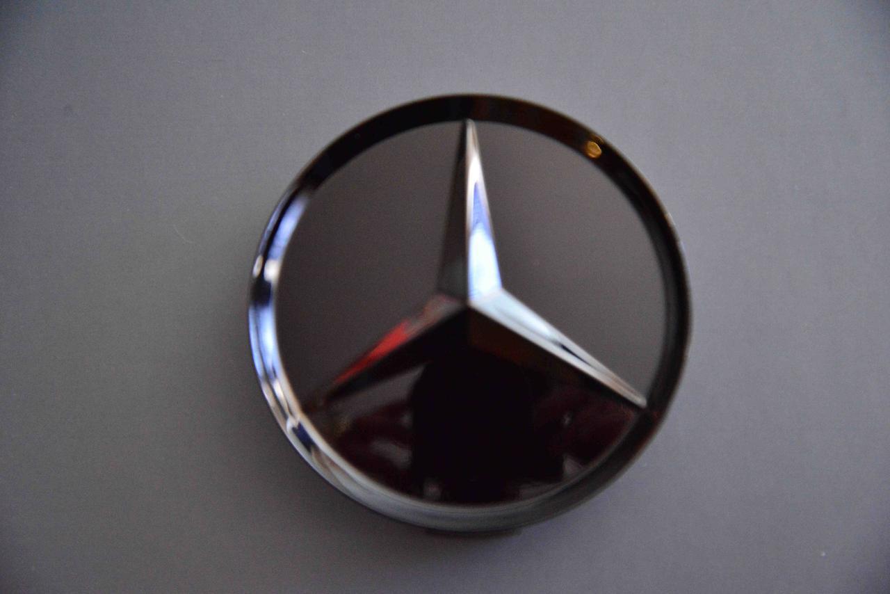 Колпачки заглушки на литые диски в диски Мерседес Mercedes (75/70/16) черный глянец