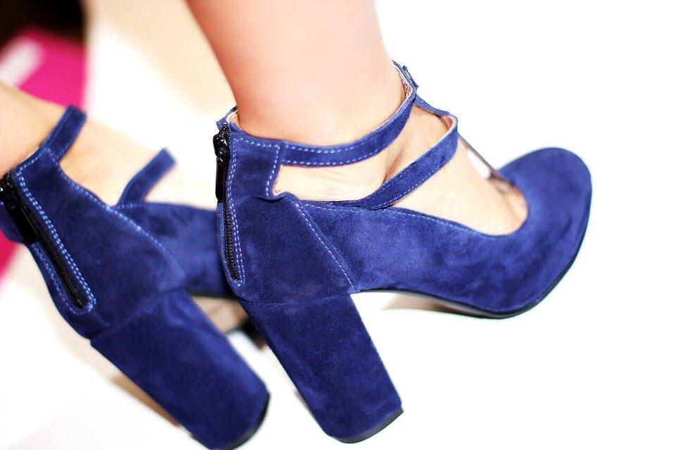Женские туфли на толстом каблуке синие натуральная замша - ГЛЯНЕЦ  cf49cc5f55170