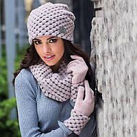 Olivia женская зимняя шапка и снуд Kamea,шерстяная, розовый  цвет, фото 1