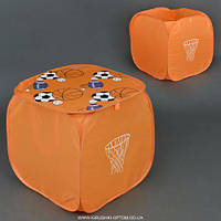 """Корзина для игрушек 4002 """"Баскетбол"""" (150) цвет оранжевый, с крышкой и ручками, в кульке"""