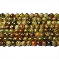 Зеленый Гранат Граненый, Натуральный камень, бусины 8 мм, Шар, Отверстие 1 мм, количество: 47-48 шт/нить