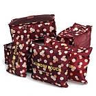 Набор дорожных сумочек в чемодан (6 шт.) (бордовый в цветы), фото 2