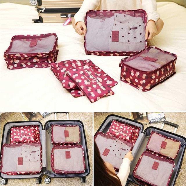 Набор дорожных сумочек в чемодан бордовый