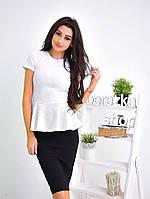 Блузка белая с баской и юбка карандаш 0740