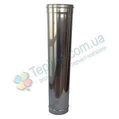 Труба для дымохода d 130 мм; 0.8 мм; 1 метр из нержавейки AISI 304 - «Версия Люкс»