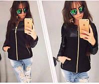 Женская кашемировая куртка с эко-кожей, 3 цвета