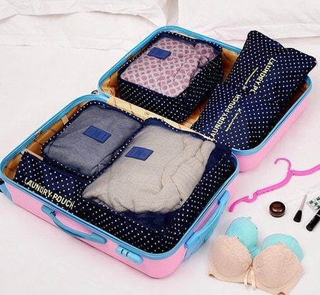 Набор дорожных сумочек в чемодан темно-синий в горошек