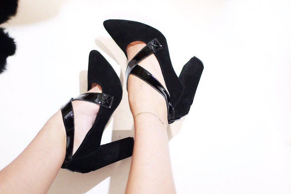 Женские туфли на толстом каблуке черные замша и лак ИТАЛИЯ - ГЛЯНЕЦ  e32dc8140f3bb
