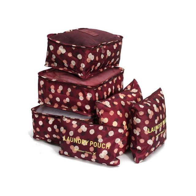 Набор дорожных сумочек в чемодан бордовый в цветы