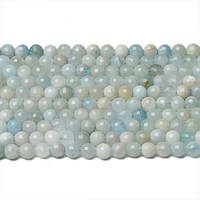 Аквамарин Граненый, Натуральный камень, бусины 8 мм, Шар, Отверстие 1 мм, количество: 47-48 шт/нить