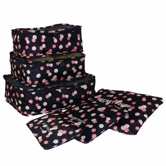 Набор дорожных сумочек в чемодан темно-синий в цветы