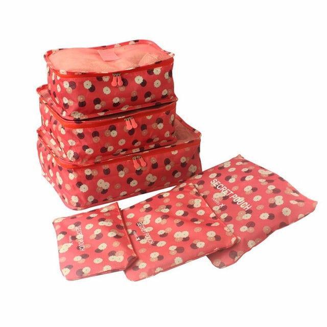 Набор дорожных сумочек в чемодан терракот