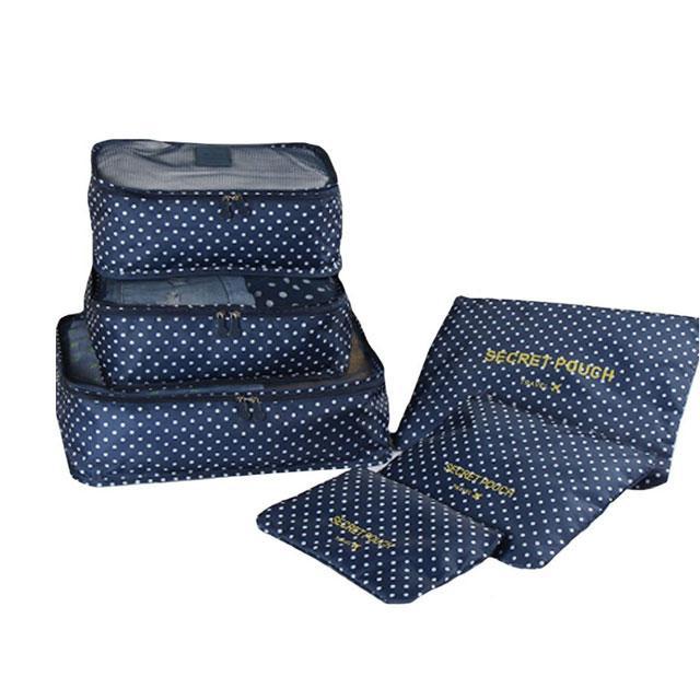 Темно-синий в горошек абор дорожных сумочек в чемодан