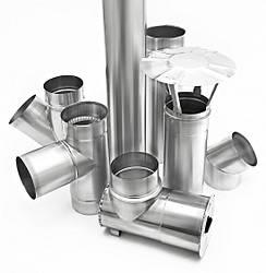 Комплектуючі елементи до димохідних систем з нержавіючої сталі (одностінні) AISI 304, т. 0,5.0,8.