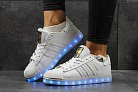Женские кроссовки Adidas Superstar LED белые 2918