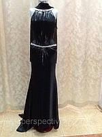 Платье женское длинное в пол со шлейфом черное вечернее нарядное яркое современное