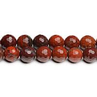 Яблочная Яшма Граненая, Натуральный камень, На нитях, бусины 8 мм, Шар, 48 шт/нить