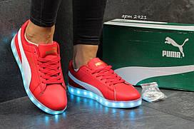 Женские кроссовки Puma LED красные 2921