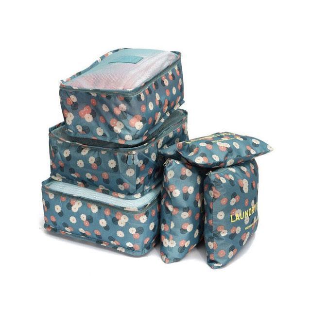 Набор дорожных сумочек в чемодан голубой в цветы